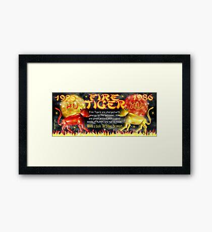 1986 2046 Chinese zodiac born as Fire Tiger by Valxart.com Framed Print