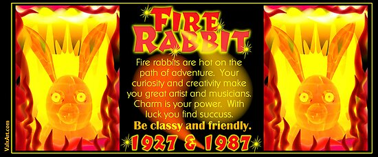 1927 1987 Chinese zodiac born Fire rabbit by Valxart.com  by Valxart