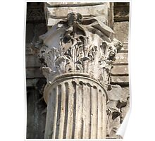 Ancient corinthian capital and fluted column. Poster