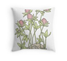 Red Clover All Over Throw Pillow