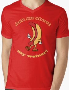 Ask Me About My Weiner Mens V-Neck T-Shirt
