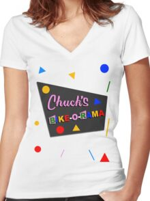 Chuck's Bike-O-Rama Women's Fitted V-Neck T-Shirt