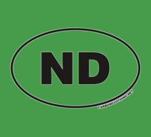 North Dakota ND Euro Oval Sticker Kids Clothes