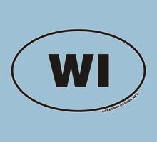 Wisconsin WI Euro Oval Sticker Kids Clothes
