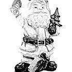 Santa Claus Carving. Christmas and Holiday Digital Engraving Image by digitaleclectic
