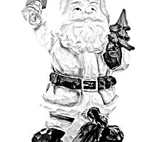 Santa Claus Carving. Christmas and Holiday Digital Engraving Image by digitaleclectic