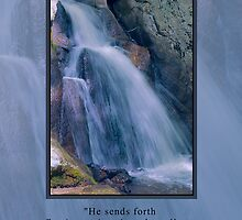 Mountain Waterfall Greeting Card by Delores Knowles