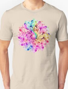 Rainbow Watercolor Paisley Flower Unisex T-Shirt