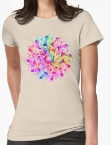 Rainbow Watercolor Paisley Flower Womens Fitted T-Shirt