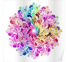 Rainbow Watercolor Paisley Flower Poster
