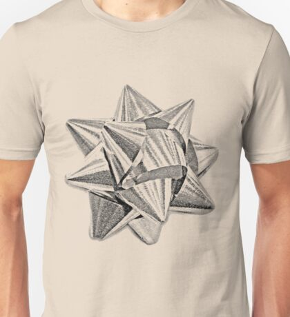 Christmas Bow. Christmas and Holiday Digital Engraving Image Unisex T-Shirt