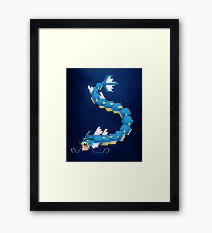Blue Gyarados Framed Print