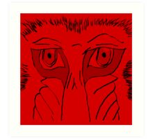 Baboon Stare Red Art Print