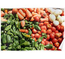 Peppers Tomatoes Carrots and Onions Poster