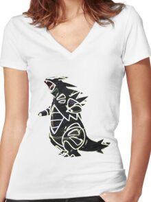 Tyranitar Women's Fitted V-Neck T-Shirt