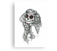 "Black and White Ink Illustration ""Jiibay"" Canvas Print"