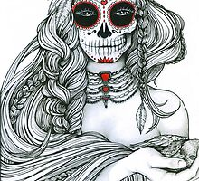 "Black and White Ink Illustration ""Jiibay II"" by LeahSandberg"