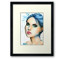 """Watercolor and Ink portrait """"Mara"""" Framed Print"""