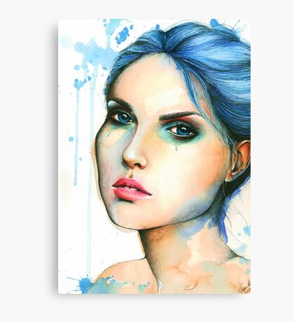 "Watercolor and Ink portrait ""Mara"" Canvas Print"