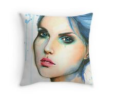 "Watercolor and Ink portrait ""Mara"" Throw Pillow"