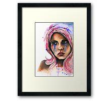"Watercolor and Ink Portrait ""Katja"" Framed Print"