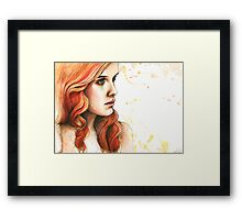 "Watercolor and Ink Portrait ""Further From You"" Framed Print"