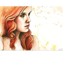 "Watercolor and Ink Portrait ""Further From You"" Photographic Print"