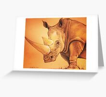 """Colored Pencil and Ink Rhino """"The Weight of It"""" Greeting Card"""