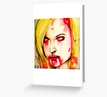 """Watercolor and Ink Zombie Portrait """"You, it's what's for dinner"""" Greeting Card"""