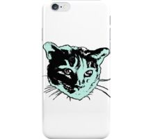 Cool Cat Head Graphic ~ sea green, black and white iPhone Case/Skin