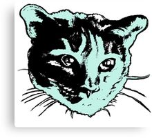 Cool Cat Head Graphic ~ sea green, black and white Canvas Print