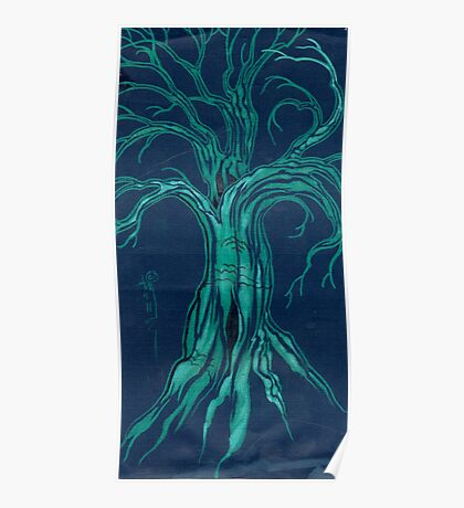 blue tree in winter Poster