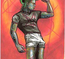 punk rocker pinup guy, beefcake by resonanteye