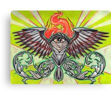 torch with eye and flames Canvas Print