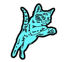 Cotton Candy Cat in Blue Photographic Print