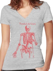 Red Skeleton Anatomical Women's Fitted V-Neck T-Shirt