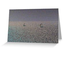Distant Yachts  Greeting Card
