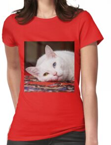 Charlie The White Pussy Cat Womens Fitted T-Shirt