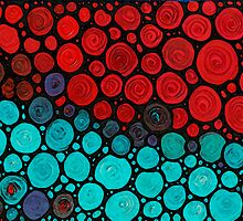 Currents - Red Aqua Art by Sharon Cummings by Sharon Cummings
