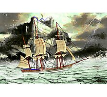 A 19th century Sailing Ship on a Stormy Day at Bambrough Castle Photographic Print