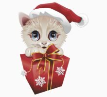Kitten Christmas Santa with Big Red Gift Kids Clothes