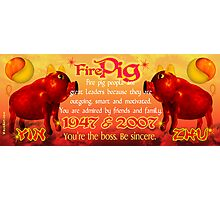 1947 2007 Chinese zodiac born in year of Fire Pig by Valxart.com Photographic Print