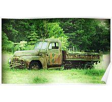 Vintage International Truck abandoned truck in field Poster