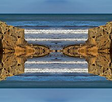 COVE BAY - ROCKS AND WAVES MIRRORED v2 by JASPERIMAGE