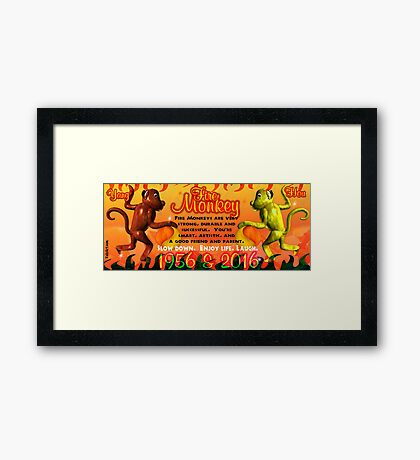1956 2016 Chinese zodiac born in year of Fire Monkey  Framed Print