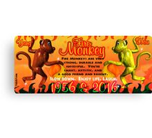 1956 2016 Chinese zodiac born in year of Fire Monkey  Canvas Print