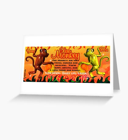 1956 2016 Chinese zodiac born in year of Fire Monkey  Greeting Card