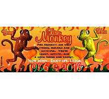 1956 2016 Chinese zodiac born in year of Fire Monkey  Photographic Print
