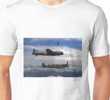 Lancaster Bomber with Spitfire escort Unisex T-Shirt