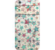 Grunge Stars on Shabby Chic White Painted Wood iPhone Case/Skin